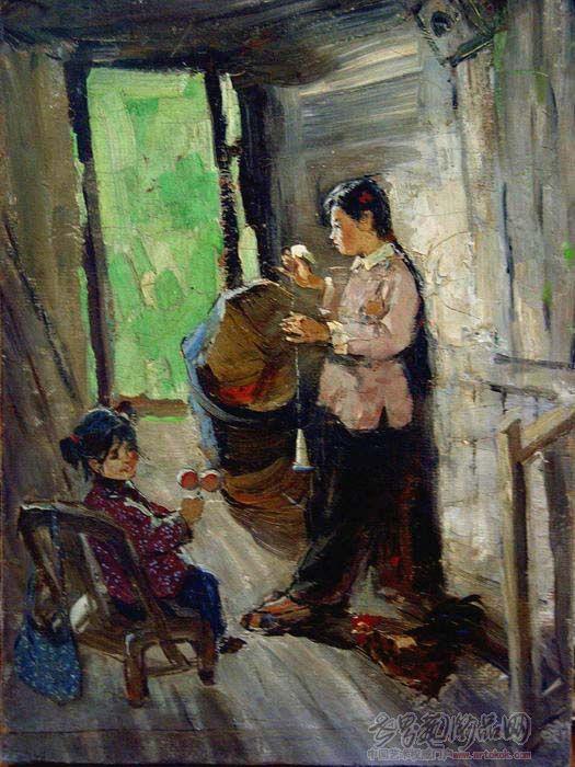 肖峰-村姑 布面油画 1959年-淘宝-名人字画-中国书